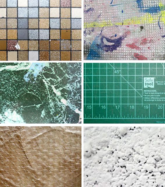 échantillons d'images photographiées pendant une exploration du Centre d'art passerelle et projetées sur les gabarits